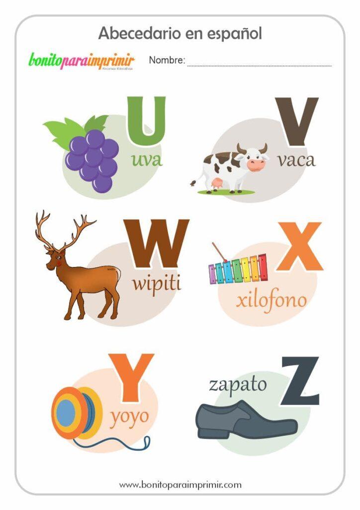 fichas del abecedario